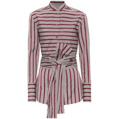 Victoria Victoria Beckham Striped Cotton Top (2.590 NOK) ❤ liked on Polyvore featuring tops, long-sleeved, multicoloured, red striped top, striped top, multi color tops, red long sleeve top and red stripe top