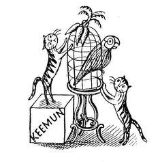 Edward Bawden, cat linocut