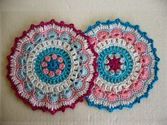 Beautiful crochet mandalas by CrochetKari. She uses this pattern by Winkie (A Creative Being) which is available on Etsy here: https://www.etsy.com/in-en/listing/187087257/petals-picots-crochet-mandala-doily
