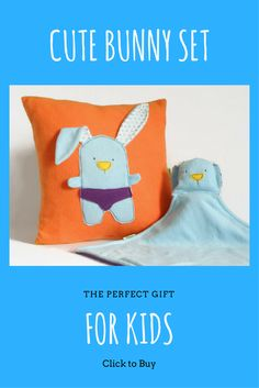 A cute set for a new baby, The older sister will get the pillow and the new baby will get the security blanket, so Cool!!!! Baby Showe Gift Set- Decorative Pillow and Security Blanket, Orange Nursery Room Bunny Throw Pillow, Soft Security Blanket, Baby shower gift