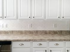 Really good directions for installing white subway tile kitchen backsplash. Laminate counter already in place.  We have to add hardyboard to the steps.