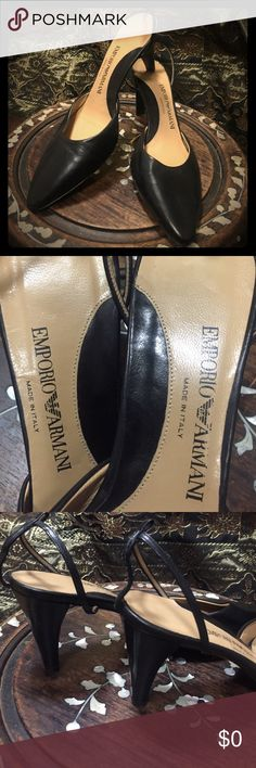 Emporio Armani Sling back shoe made in Italy the shoe is missing a strap. Is replaceable for $8 at a shoe maker or wear them as shown without strap. Very comfortable Never worn misplaced strap moving. Shoes Heels