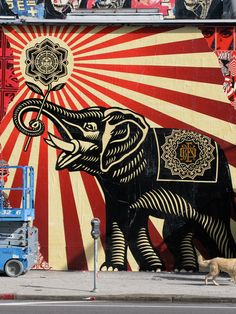 Elephant by controversial contemporary artist Shepard Fairey. Click on the image to learn more from TheCultureTrip.com! (http://youbelongintheclouds.tumblr.com/post/10696354453)