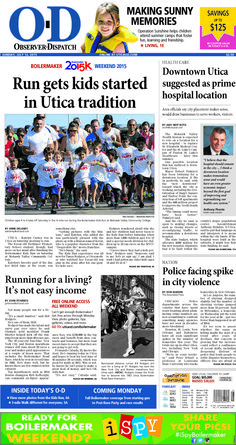 The front page for Sunday, July 12, 2015: Run gets kids started in Utica tradition