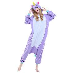 Kigurumi+Pijamas+Unicórnio+Collant/Pijama+Macacão+Festival/Celebração+Pijamas+Animal+Roxo+Rosa+Azul+Céu+Animal+Lã+Polar+Kigurumi+Para+–+BRL+R$+91,23