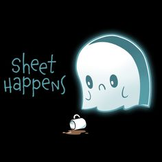 Sheet Happens t-shirt TeeTurtle black t-shirt featuring a sad ghost who skilled his coffee Halloween Puns, Halloween Sale, Halloween Drawings, Cute Puns, Funny Puns, Cartoon Drawings, Cute Drawings, Ghost Drawings, Backgrounds