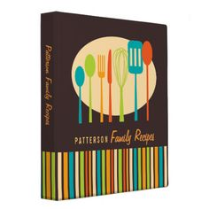 Shop Retro Kitchen Cooking Utensils Recipe Binder created by kat_parrella. Personalize it with photos & text or purchase as is! Cooking Spatula, Cooking Utensils, Cooking Pork Chops, Cooking White Rice, Recipe Binders, Binder Design, Recipe Organization, Custom Binders, Retro Recipes