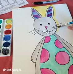 Great how-to lesson for drawing and painting Easter Bunnies--FREE, from Art with Jenny K. Kids love this art activity! #artwithjennyk