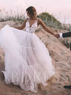 Affiliate System - Categories - Weddings & Events - Simple V Neck Boho Wedding Dresses 2020 Tiered Tulle Skirt A Line Bridal Gowns Lace Appliques Wedding Gowns Garden Wedding Dresses, Cute Wedding Dress, Rustic Wedding Dresses, Best Wedding Dresses, Wedding Ideas, Wedding Night, Beach Style Wedding Dresses, Beach Bridal Dresses, Applique Wedding Dress