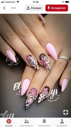 find singles trend/get-inspired-by-these-looks-almondnails-nailart-naillove-floralnails-almo/ people lovenselush Fabulous Nails, Gorgeous Nails, Cute Nails, Pretty Nails, Hair And Nails, My Nails, Nagel Blog, Nailart, Nail Accessories