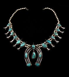 230g Estate Vintage Navajo Sterling Silver Squash Blossom Necklace w High Grade Bisbee Turquoise! Fabulous Time-Honored Classic!