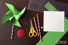 Windrad aus Papier als Dekoration oder Einladung (Kostenlose Bastelanleitung von shesmile, Do it Yourself