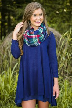 By The Fireside Dress-Navy - New Today | The Red Dress Boutique