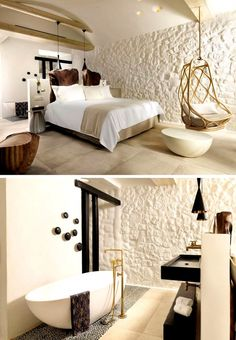 A New Boutique Design Hotel Has Opened Its Doors In Mykonos In this hotel guest room, a half-wall separates the sleeping area from the bathroom.In this hotel guest room, a half-wall separates the sleeping area from the bathroom. Room Door Design, Bathroom Interior Design, Italian Interior Design, Interior Garden, Luxury Interior, Kitchen Interior, Design Hotel, Boutique Design, Casa Hotel
