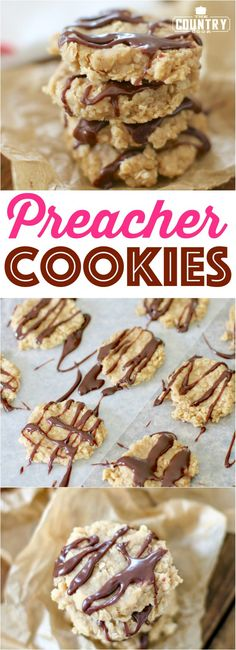 No-Bake Preacher Cookies from The Country Cook - Dessert-recipes. Easy Cookie Recipes, Cookie Desserts, Easy Desserts, Baking Recipes, Delicious Desserts, Dessert Recipes, Cookie Bars, Cookie Swap, Dessert Ideas