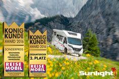 #SUNLIGHT ist 2. Sieger im Volumensegment des König Kunde Awards 2016. Zusätzlich gewinnt SUNLIGHT noch den Sonderpreis für die familienfreundlichsten Fahrzeuge. Vielen Dank an unsere Kunden! #Reisemobil #Wohnmobil #Camper #Husbil #Bobil #Motorhome