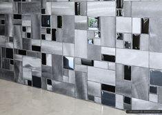 Modern black glass metal backsplash tile quartz countertop from Backsplash.com