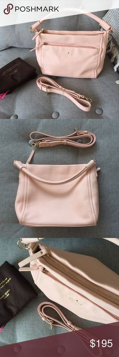 """Kate Spade Light Pink Crossbody bag Beautiful pebbled leather. Smaller exterior zip pocket across the front. Main compartment has a zip pocket on one side and two slip pockets on the other. Includes original dust bag, care instructions and detachable 20"""" strap. Slight dent on left front. Only used once. Price is negotiable. Kate Spade Bags Crossbody Bags"""