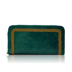 blue wallet with gold stitching