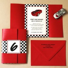 racing car party invitation
