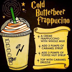Butterbeer from Starbucks! Butterbeer from Starbucks! Harry Potter Drinks, Harry Potter Food, Harry Potter Desserts, Harry Potter Recipes, Harry Potter Universal, Starbucks Secret Menu Drinks, Starbucks Coffee, Starbucks Food, Starbucks Hacks