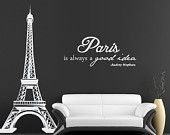 Audrey Hepburn Vinyl Wall Decal - Home Decor - Vinyl Wall Quote - Paris is Always a Good Idea - Girly Quote - Childrens Decor - 27 x 11. $18.00, via Etsy.