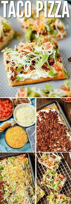"""Taco Pizza is an easy family dinner (you can even EASY make it the night before) or a tasty appetizer. Kids love this recipe and the cream cheese/sour cream """"sauce"""" and spicy taco flavor are a hit with adults too."""