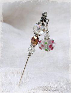 "Flower Charm Stick Pin, 3"" Hat Pin, Dangle Pin, Scarf Pin, Hijab Pin, Scrapbooking Pin KC0091. $6.00, via Etsy."