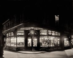 """Washington, D.C., circa 1920. """"People's Drug Store, 7th and M."""" Your headquarters for Bed Bug Killer, Corn Paint (""""for Hard and Soft"""") and the ever-popular Rubber Goods. National Photo Co."""