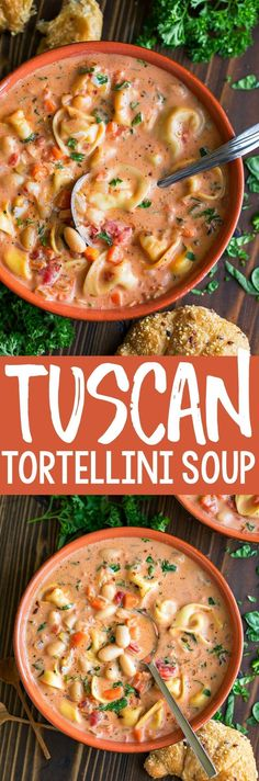This creamy Tuscan Tortellini Soup is crazy delicious and can made quickly in just one pot! Each luscious bowl is loaded with cheesy tortellini, fresh veggies, and tender white beans for a filling and flavorful soup! Recipes to try Chili Recipes, Pasta Recipes, Soup Recipes, Dinner Recipes, Cooking Recipes, Dinner Ideas, Vegetarian Recipes, Slow Cooker Soup, Bon Appetit