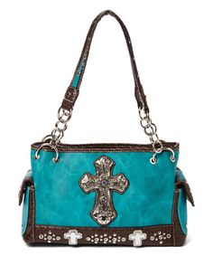 Turquoise Cross Satchel #zulily #zulilyfinds