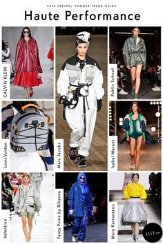 Nylon parkas might fare better while hiking, but the windbreaker is getting the high fashion treatment. The Top Gun textile even made an appearance as a retro skydiving suit, courtesy of of Marc Jacobs, with bungee-laced accessories seen at Louis Vuitton. High Fashion Trends, Spring Fashion Trends, Latest Fashion Trends, Fashion Brands, Spring Outfits Women, Textiles, Fashion Design Sketches, Spring Summer Trends, Fashion 2018