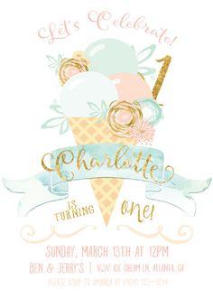 Ice Cream Party Invitation Mint Peach by TheEnchantedPrincess