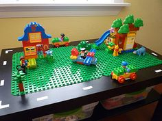 CraftyErin: lego (duplo) from an old coffee table.  Luv this just wish I had the space for it.
