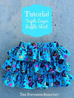Remona from The Stitching Scientist shows how you can make a little girls triple layer ruffle skirt. You can make one from a woven or a knit fabric. She used a corduroy for the one she made, whic… Sewing Kids Clothes, Ag Doll Clothes, Doll Clothes Patterns, Sewing For Kids, Baby Sewing, Free Sewing, Clothing Patterns, Diy Clothes, Diy Couture Jupe