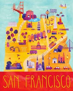illustrated by @marisamidori seen on vlinspiratie.blogspot.com   #illustration #map #sanfrancisco  Roadtrip to U.S. Illustrations