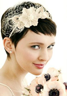20 Short Pixie Wedding Hairstyles, Don't let the length fool you, short haircuts like pixie cut can also be wedding hairstyle. The short pixie cut has just as much versatility as your. Short Wedding Hair, Wedding Hair And Makeup, Wedding Veils, Wedding Bride, Wedding Ideas, Wedding Trends, Wedding Headband, Pixie Headband, Wedding Dresses