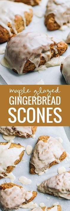 Maple Glazed Gingerbread Scones - the most cozy winter breakfast treat, especially perfect with a mug of hot coffee!