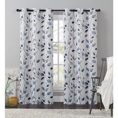VCNY Home Leaf Window Curtain 84, 95 or 108-inch Panel
