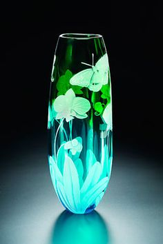 Orchid and Butterfly glass art - Cynthia Myers