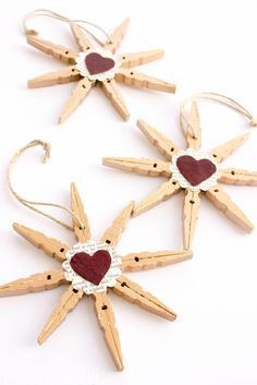 Clothespin Snowflake or Star Ornaments! RE-USE METAL SPRINGS IN JEWELLERY (see seperate Pin)