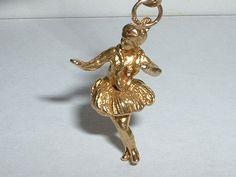 VINTAGE 10K YELLOW GOLD 3D HAWAIIAN HULA DANCER PENDANT CHARM  | eBay