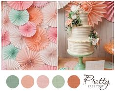 Merry Brides peach pink light green ivory