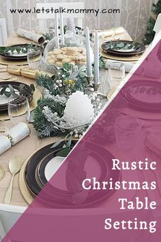 A rustic Christmas table setting using easy to get things. Gold Christmas table decorations for a beautiful simple table centrepiece #christmastable #rustic #christmas