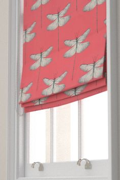 Demoiselle blinds by Harlequin - Coral / Mint - Fabric : Wallpaper Direct Pink Roman Blinds, Grey Blinds, House Blinds, Blinds For Windows, Shutter Blinds, Fabric Blinds, Curtains With Blinds, Dragonfly Wallpaper, Office Blinds
