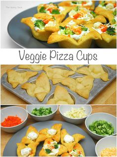 Veggie Pizza Cups made with @Sue-Ann Metz crescent rolls! #appetizer #partyideas