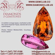 A reddish orange topaz, marketed under the name Imperial Topaz, stands tall over a pink topaz  #DiamondClub & #GemClub #Appraiser #Appraisal #Diamond #Gemstones #Jewelry #Watch #Antiques #Pearl #Ruby #Sapphire #Emerald #Gold #Silver #Platinum #Palladium #Luxury #Earrings #Ring #Bracelet #Pendant #Necklace #Brooch #Wedding #Anniversary #Valentine