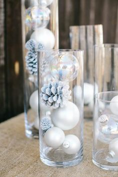 Winter Wonderland Baby Shower : Full Of Fun DIY Winter Decorating Ideas Winter has just begun and everybody is ready to welcome it by doing different decorations. Here are some beautiful diy winter decorating ideas for you to make your winter special. Winter Wonderland Decorations, Easy Christmas Decorations, Winter Wonderland Wedding, Winter Decorations, Winter Wonderland Christmas Party, Wonderland Party, Table Decorations, Centerpiece Ideas, Baby Shower Winter Wonderland