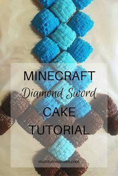 An easy, step-by-step tutorial to make a Minecraft Diamond Sword cake using cupcakes. Minecraft Cupcakes, Minecraft Birthday Cake, Easy Minecraft Cake, Minecraft Party, Minecraft Crafts, Lego Minecraft, Minecraft Skins, Minecraft Buildings, Birthday Cupcakes