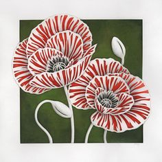 Poppies Original Papercut and Painting by berskart on Etsy, $295.00